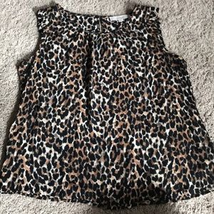 NWOT LOFT Leopard Print Ruffle-Sleeve blouse LP